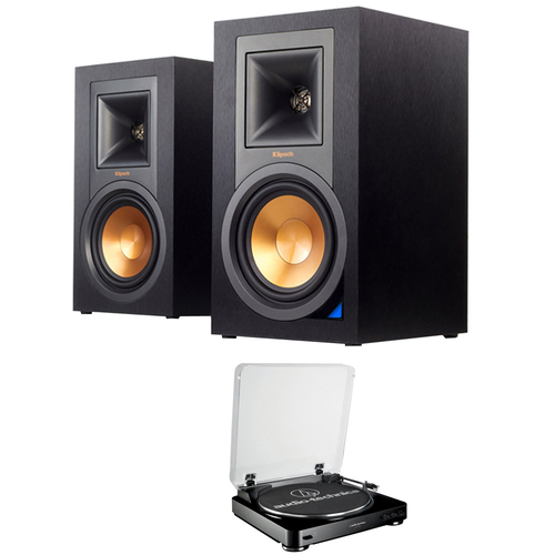 Klipsch Powered Monitor Speakers with Bluetooth (Pair) R-15PM w/ Stereo Turntable System