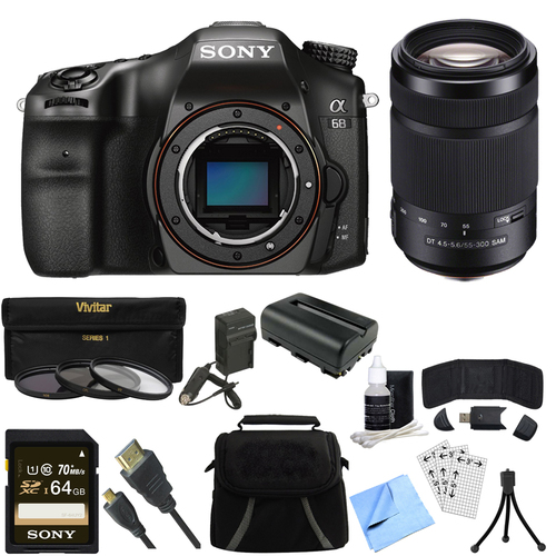 Sony a68 A-Mount 24.2MP Digital Camera Body - 64GB 55-300mm Zoom Lens Bundle