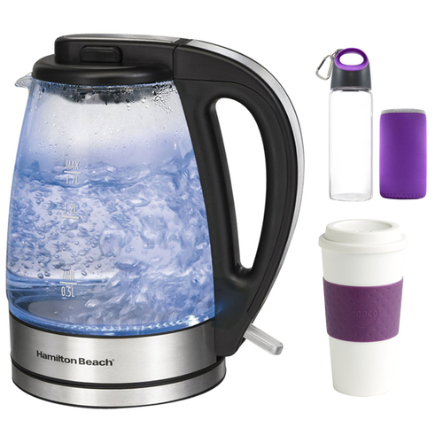Hamilton Beach Soft Blue Illuminated Glass Electric Kettle, 1.7-Liter w/ Glass Bottle Bundle