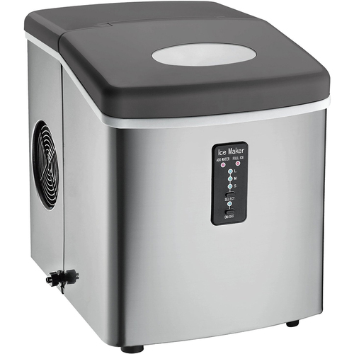 Frigidaire A/C ICE103 Counter Top Ice Maker with Over-Sized Ice Bucket, Stainless Steel