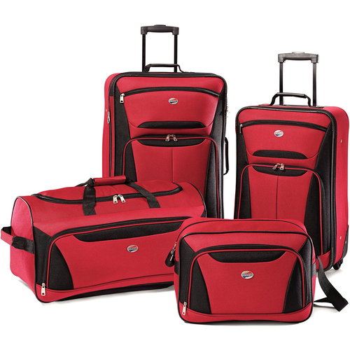 American Tourister Fieldbrook II Four-Piece Luggage Set (Red/Black) - OPEN BOX