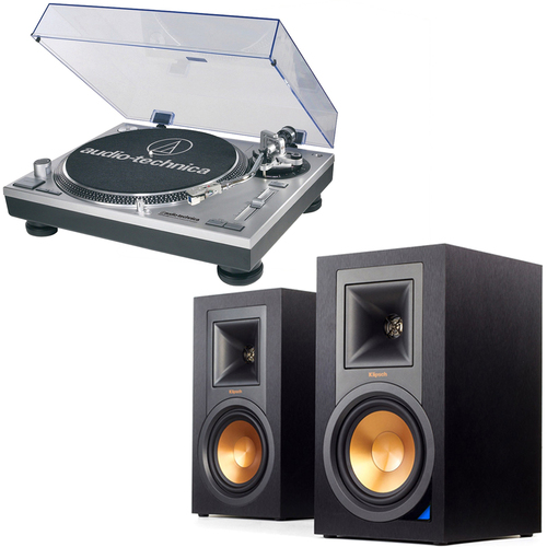 Klipsch R-15PM Powered Bluetooth Speakers & Audio-Technica ATLP120USB Pro Turntable