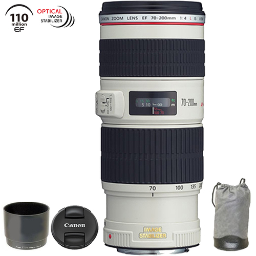 Canon EF 70-200mm f/4L IS USM w/ Case & Hood - 1258B002 (Certified Refurbished)