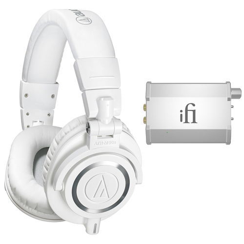 Audio-Technica Professional Studio Headphones White ATH-M50xWH w/ iFi Audio Port. Headphone Amp