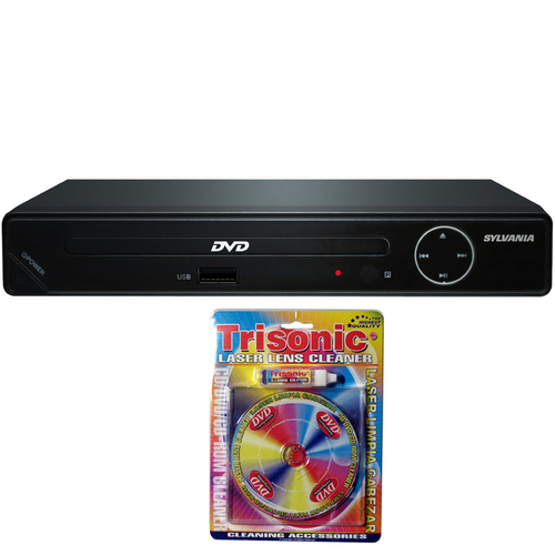Sylvania HDMI 1080p DVD Player w/ USB Port-SDVD6670 w/Trisonic Laser Lens Cleaning Bundle