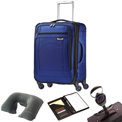 Samsonite SoLyte 20` Expandable Spinner Carry On Suitcase Blue 73850-1875 w/ Travel Kit
