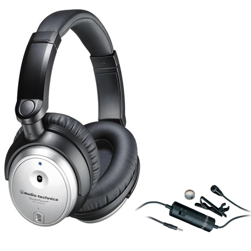 Audio-Technica QuietPoint Active Noise-Cancelling Headphones ATH-ANC7b-SViS with Microphone