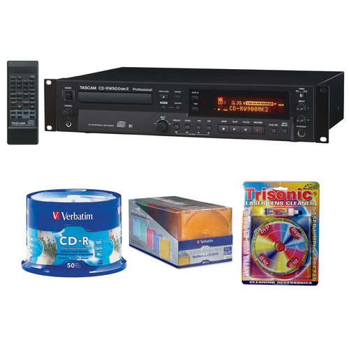 Tascam Professional CD Recorder CD-RW900MKII with CD-R Bundle