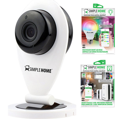 Simple Home Wi-Fi Security Camera with Motion Detection Start Kit w/ Smart LED Bulb + Outlet