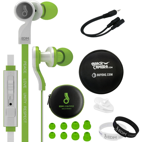 MEElectronics In-Ear Headphones with Headset Functionality Green  w/ Case Bundle