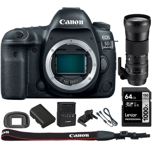 Canon EOS 5D Mark IV CMOS DSLR Camera Body 4K Video+ 150-600mm HSM Zoom Lens Kit