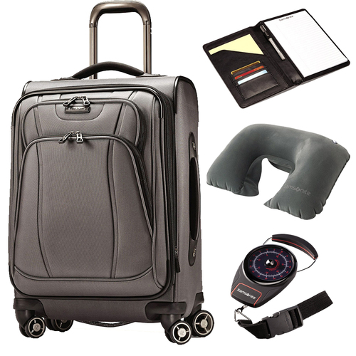 Samsonite DK3 Spinner 21 Suitcase - Charcoal with Travel Bundle