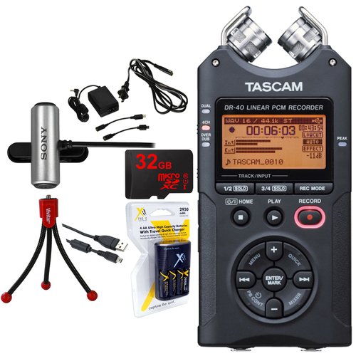 Tascam Portable Digital Recorder DR-40 with 32GB Deluxe Power Studio Bundle