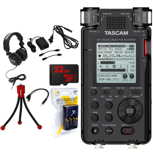 Tascam 192kHz/24bit-Compatible Studio-Quality Linear PCM Recorder +Studio Bundle