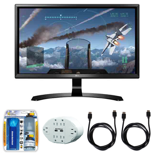 LG 24` 4K UHD FreeSync IPS Monitor 24UD58-B with Accessory Hook up Bundle