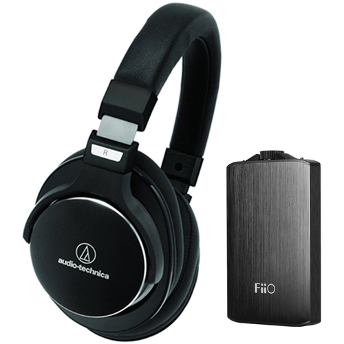Audio-Technica SR7 SonicPro High-Resolution Noise Cancellation Headphones w/ FiiO A3 Amplifier