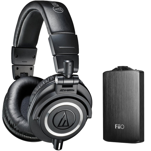 Audio Technica ATH-M50X Professional Headphones + FiiO A3 Amplifier