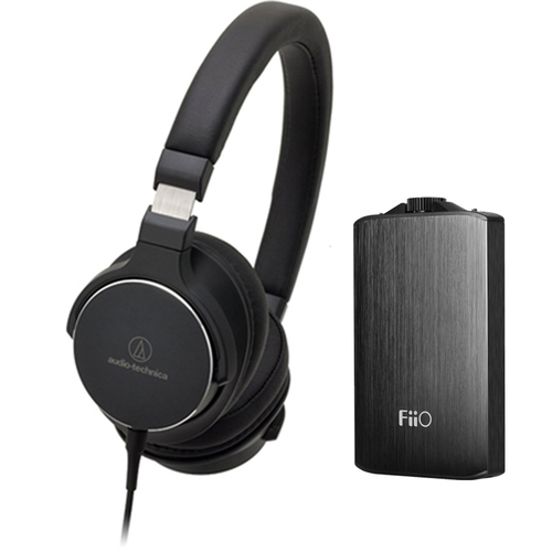 Audio-Technica SR5 On-Ear High-Resolution Headphones w/ FiiO A3 Headphone Amplifier, Black