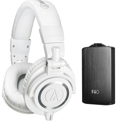 Audio-Technica ATH-M50X Professional Studio White Headphones & Fiio A3 Amplifier Bundle Black