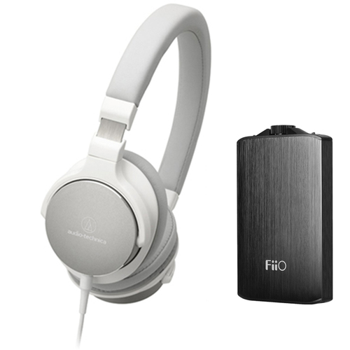 Audio-Technica SR5 On-Ear High-Resolution Headphones w/ FiiO A3 Headphone Amplifier, White