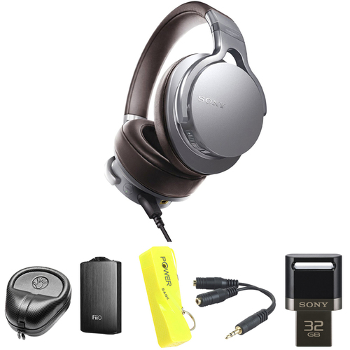 Sony Premium Hi-Res Amp-Integrated Headphone - Silver w/ FiiO A3 Amplifier Bundle