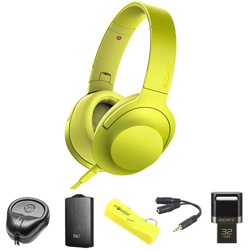 Sony Premium Hi-Res On-Ear Stereo Headphone Yellow MDR100AAP/Y w/ FiiO A3 Amp Bundle