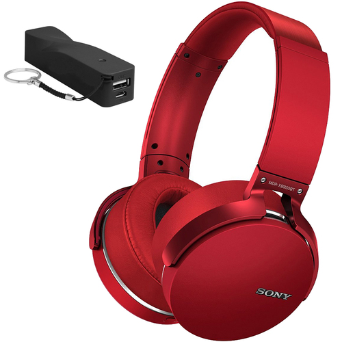 Sony XB950BT Extra Bass Bluetooth Red Headphones + 2600mAh Portable Power Bank