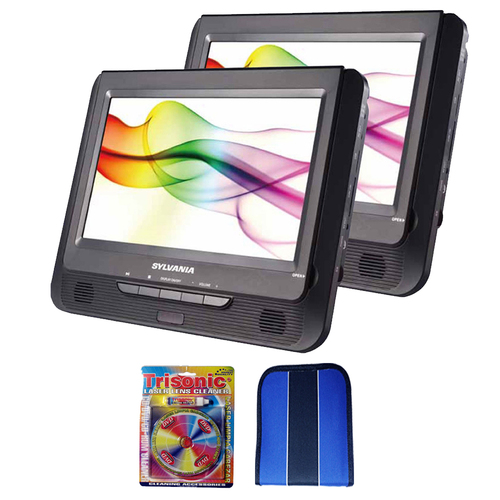 Sylvania 9` Twin Dual Screen DVD Player-Essentials Bundle