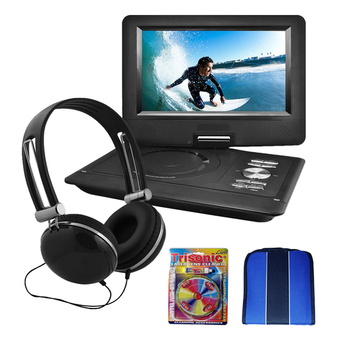 Ematic Ematic 10` Portable Swivel Screen DVD Player Black w/Headphones Essential Bundle