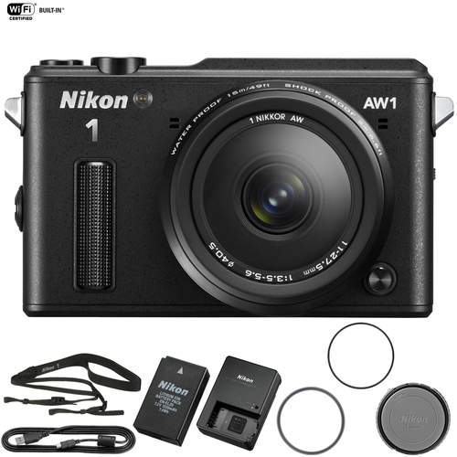 Nikon AW1 Waterproof Shockproof Digital Camera Black + AW 11-27.5mm (Refurbish)