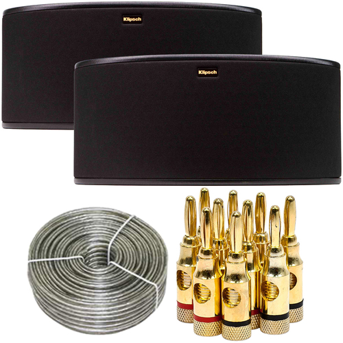 Klipsch R-14S Surround Sound Speaker Pair + Speaker Wire & Banana Plugs Bundle
