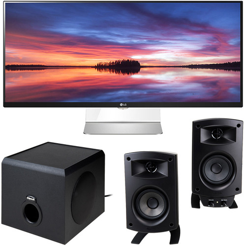 LG 34UM95 34` 21:9 3440x1440 UltraWide WQHD IPS LED Monitor +Klipsch Speaker Bundle