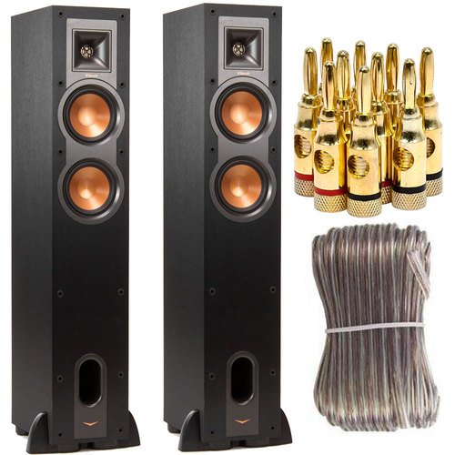 Klipsch Pair of R-24F Dual 4.5-inch Floorstanding Speaker Bundle w/ Speaker Wire + Plugs