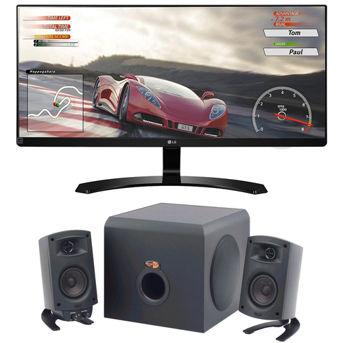LG LG 29UM68-P 29` Ultrawide FreeSync IPS LED Monitor +Klipsch Speaker Bundle