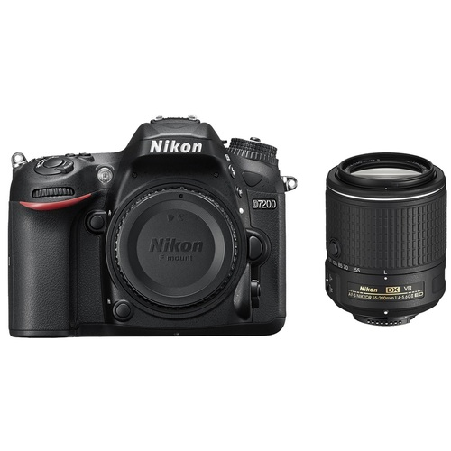 Nikon D7200 24MP HD Digital SLR Camera with 55-200 VR II Lens (Black) - Refurbished