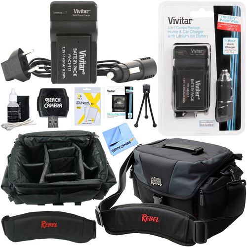 Vivitar 1140mAh Battery & Charger for LP-E17 with Canon Rebel Gadget Bag + Accessory Kit