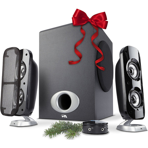 Cyber Acoustics 3 Piece Flat Panel Subwoofer & Powered Satellite Speaker System - CA-3810