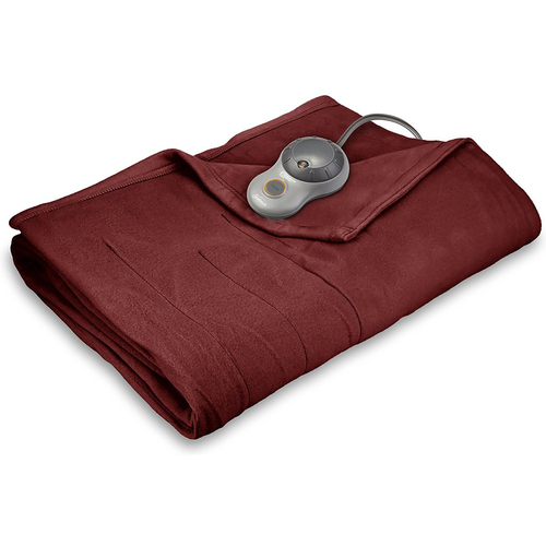 Sunbeam Quilted Fleece Heated Blanket with EasySet Pro Controller, Full (Garnet) BSF9GFS