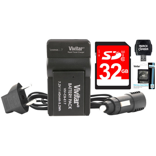 Vivitar 1140mAh Battery & Charger for LP-E17 + 32GB SD Card, Wallet & Card Reader Bundle
