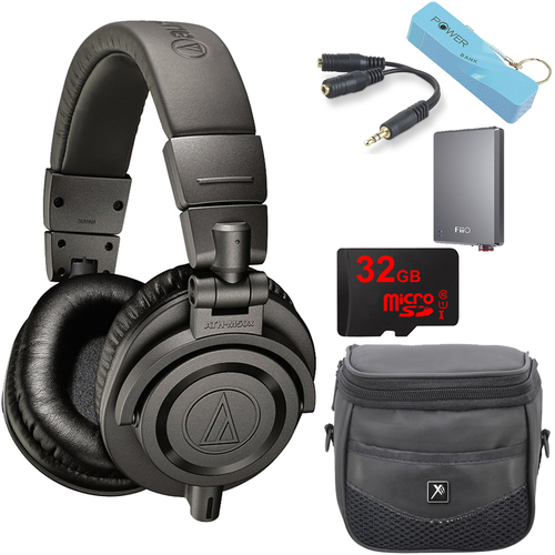 Audio-Technica ATH-M50xMG Limited Edition Professional Studio Monitor Headphones A5 Amp Bundle