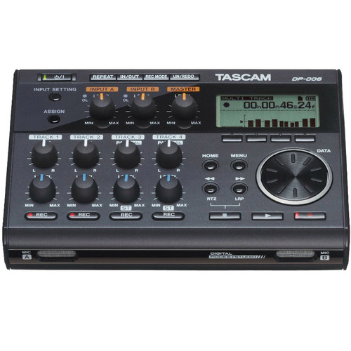 Tascam Compact Portastudio 6 Track Digital Recorder w/ Built In Microphone - DP-006
