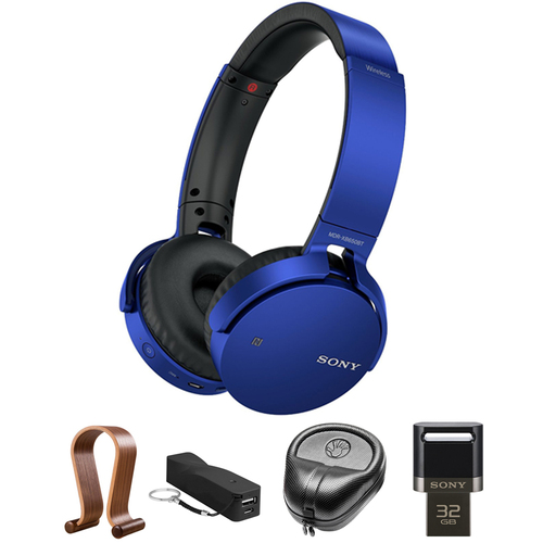 Sony XB Series Wireless Bluetooth Headphones w/ Extra Bass Blue w/ Stand Bundle