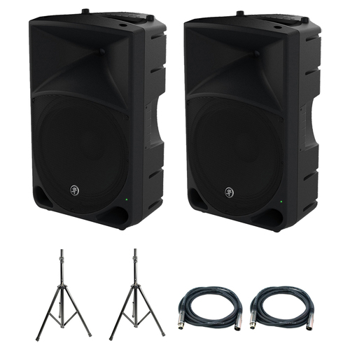 Mackie 2-Pack Thump Series 15-Inch Powered Loudspeaker w/ Accessories Bundle