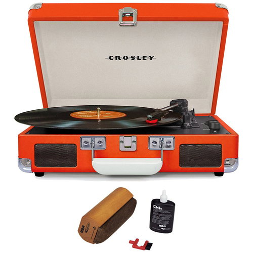 Crosley Cruiser Portable 3-Speed Turntable w/ Bluetooth Orange w/Record Cleaner
