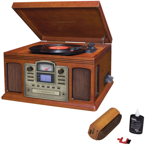 Crosley Director CD Recorder w/Cassette & Record Player Paprika w/Record Cleaner