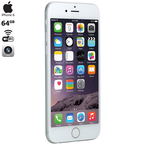 Apple iPhone 6, Silver, 64GB, AT&T, 1-Year Warranty MG4X2LL/A - Certified Refurbished