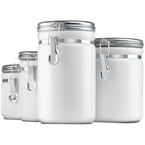 Anchor Hocking 4pc White Ceramic Canister Set