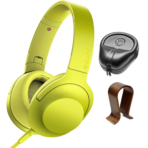 Sony Premium Hi-Res On-Ear Stereo Headphones Yellow MDR100AAP/Y w/ Stand Bundle
