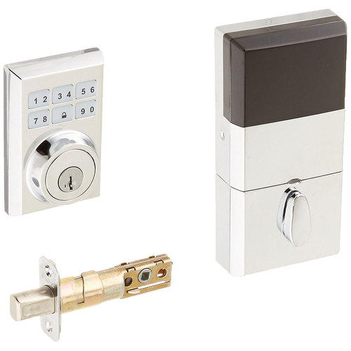Kwikset 910 Z-Wave Contemporary Deadbolt Lock w/ SmartCode & Voice, Polished Chrome