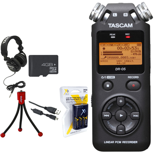 Tascam Portable Digital Recorder DR-05 with 4 GB Deluxe Studio Bundle